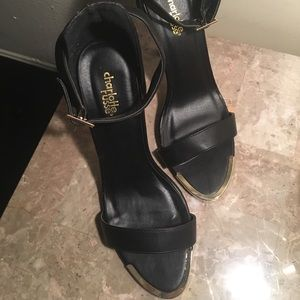 Black Heels Gold Detail Size 10